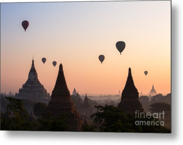 Ballons Over The Temples Of Bagan At Sunrise - Myanmar Metal Print