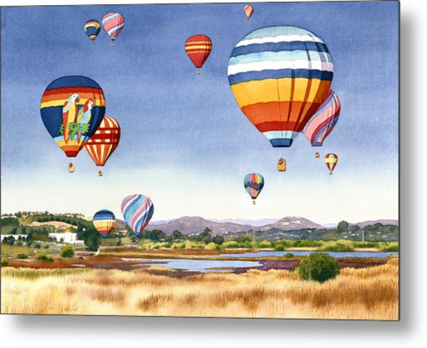 Balloons Over San Elijo Lagoon Encinitas Metal Print by Mary Helmreich