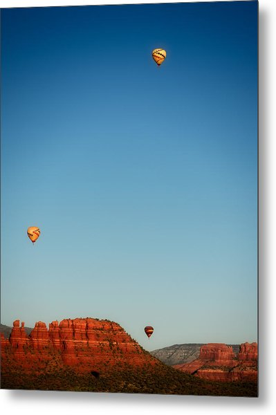 Balloons Over The Red Rocks Of Sedona Metal Print