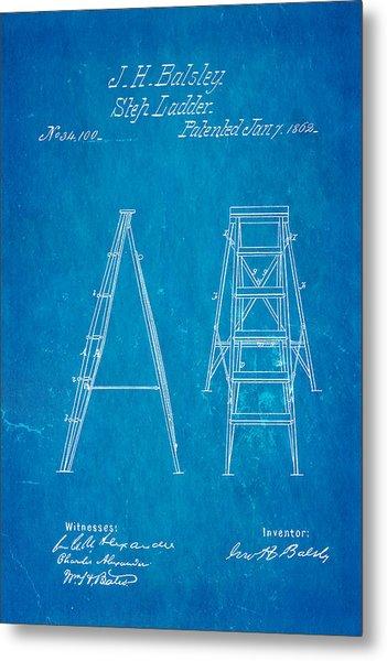 Balsley Step Ladder Patent Art 1862 Blueprint Metal Print by Ian Monk