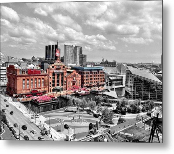 Baltimore Power Plant Color Black White Metal Print