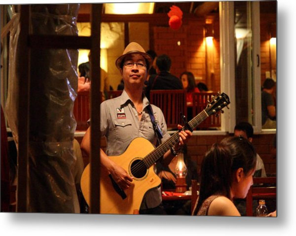 Band At Palaad Tawanron Restaurant - Chiang Mai Thailand - 01133 Metal Print by DC Photographer