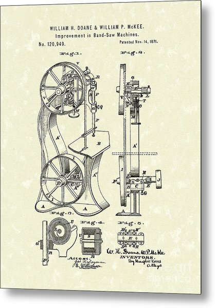 Band Saw 1871 Patent Art Metal Print