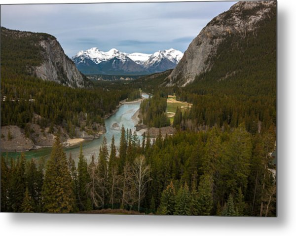 Banff Springs In Spring Metal Print