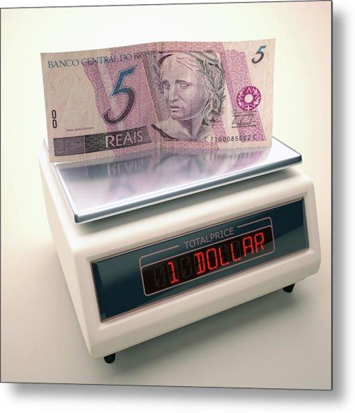 Banknote On Scales Metal Print