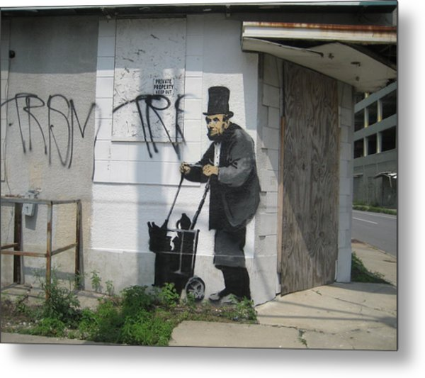 Banksy Lincoln In New Orleans Metal Print