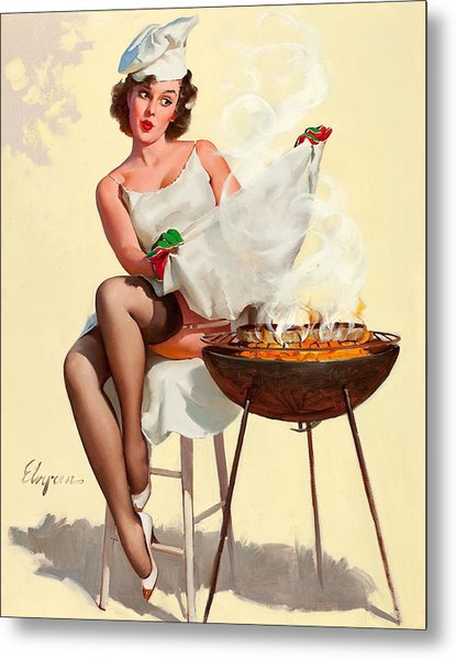 Barbecue Pin-up Girl Metal Print