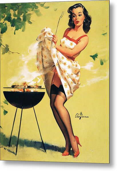 Barbecue Time - Retro Pinup Girl Metal Print