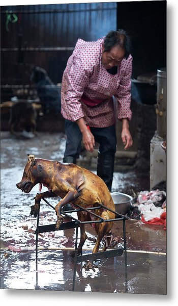 Barbecued Dog Carcass In A Chinese Market Metal Print