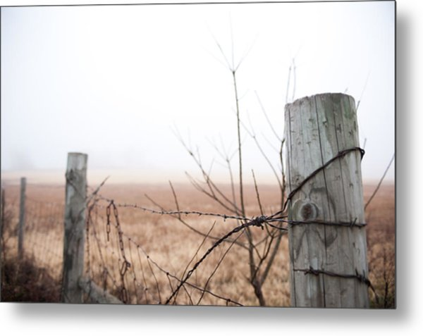 Barbed Wire Fence In The Fog Metal Print
