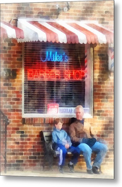 Barber - Neighborhood Barber Shop Metal Print