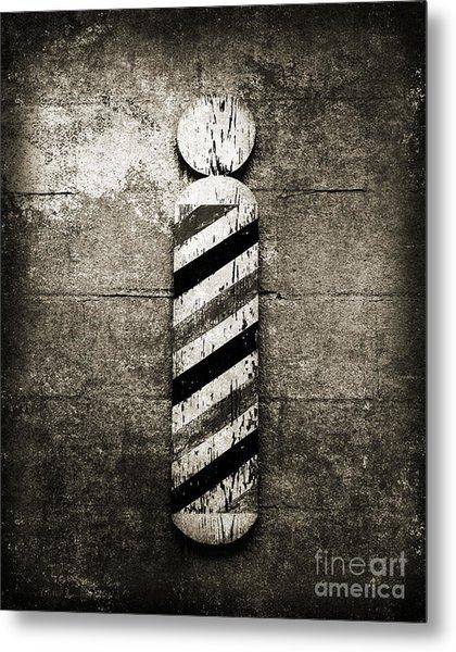 Barber Pole Black And White Metal Print