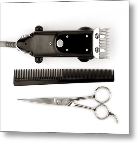 Barber Tools Metal Print