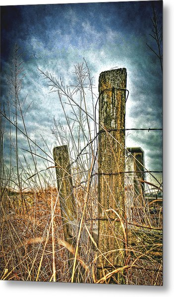 Barbwire Fences Metal Print