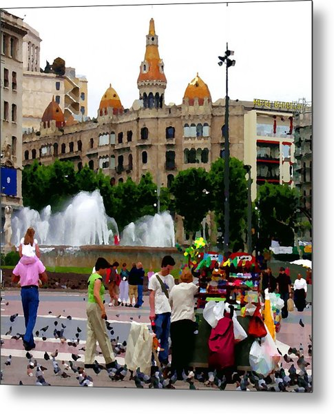 Barcelona - Abstract - Plaza De Catalunia Metal Print by Jacqueline M Lewis