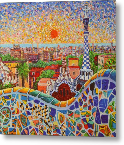 Barcelona Sunrise Light - View From Park Guell Of Gaudi - Square Format Metal Print