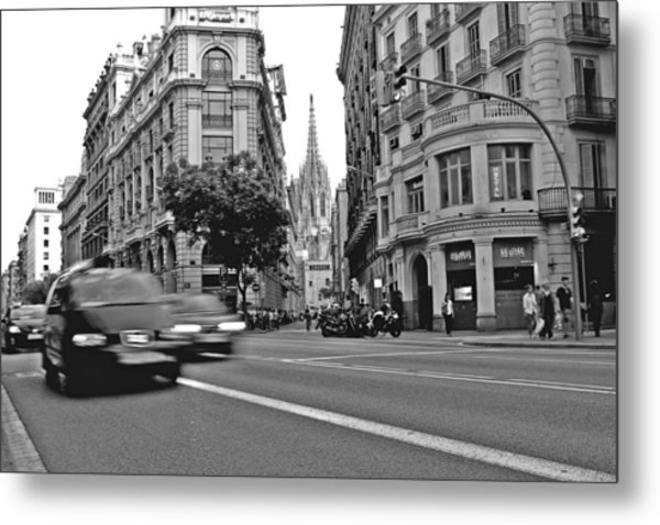 Barcelona Traffic Metal Print by Jon Cotroneo