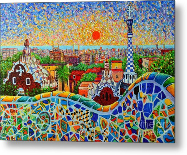 Barcelona View At Sunrise - Park Guell  Of Gaudi Metal Print