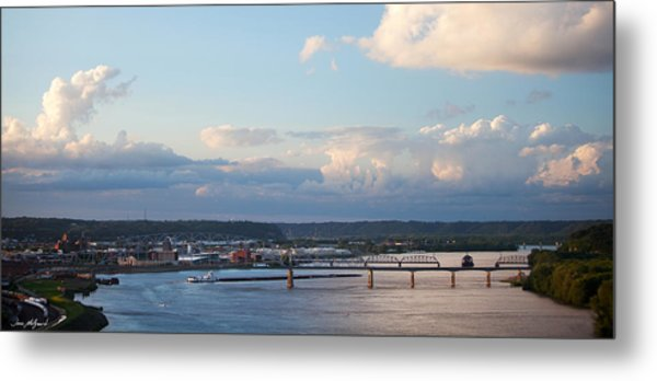 Barge Heads Up River Metal Print