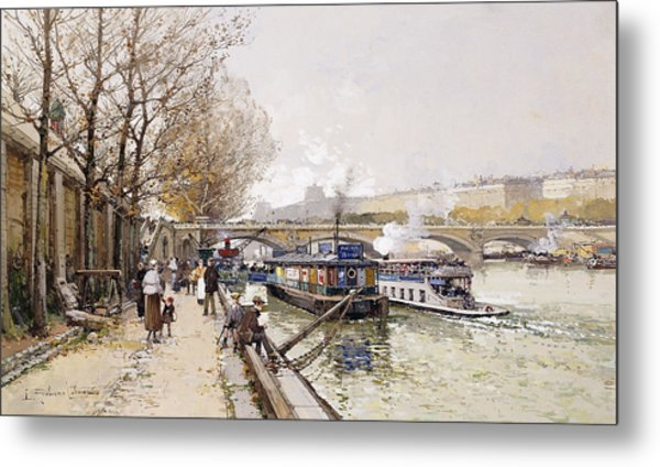 Barges On The Seine Metal Print