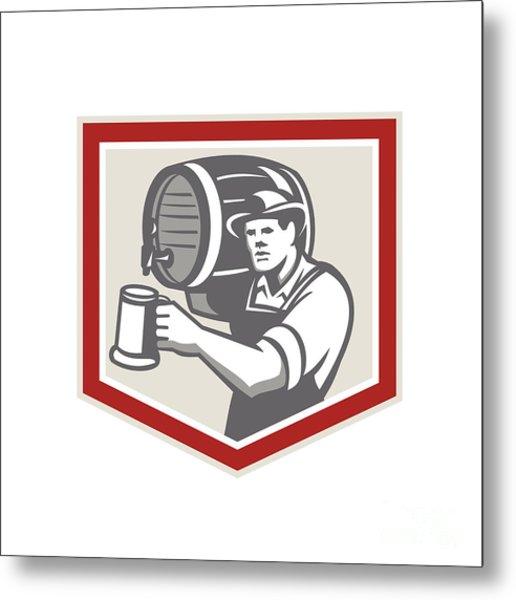 Barman Lifting Barrel Pouring Beer Mug Retro Metal Print by Aloysius Patrimonio