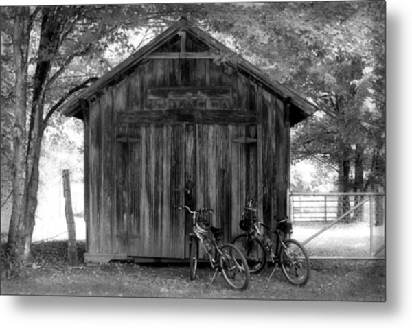 Barn And Bikes Metal Print by Paulette Maffucci