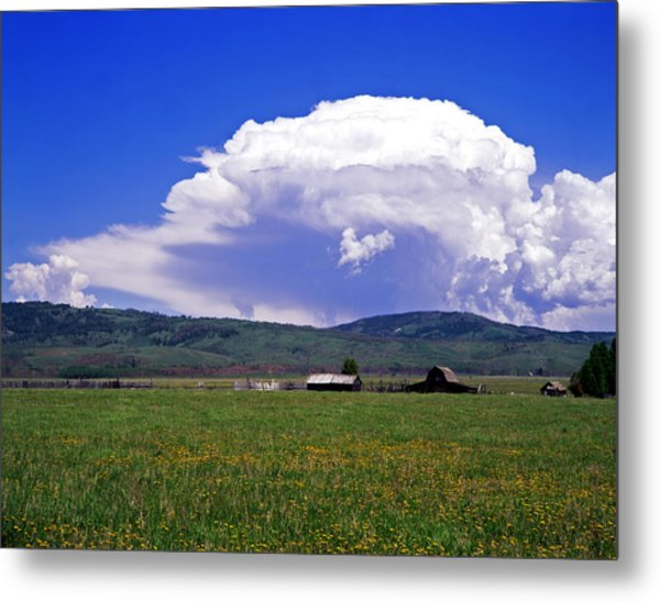 Barn And Clouds Summer Metal Print by Mike Norton