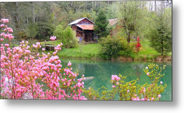 Barn And Flowers Near Pond Metal Print
