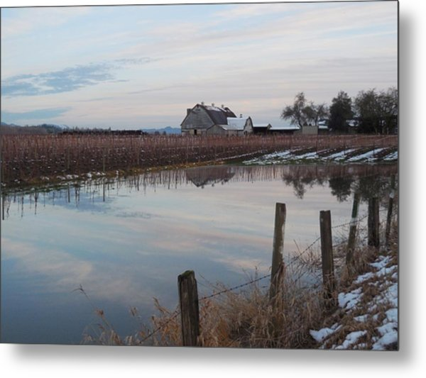 Barn And Reflection Metal Print