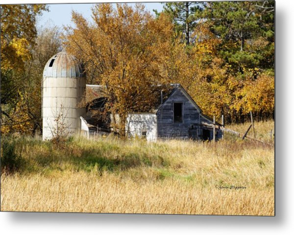 Barn And Silo 2 Metal Print