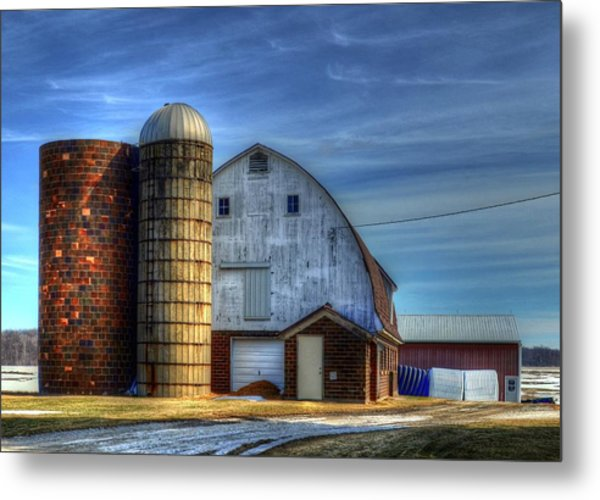 Barn And Silos Metal Print