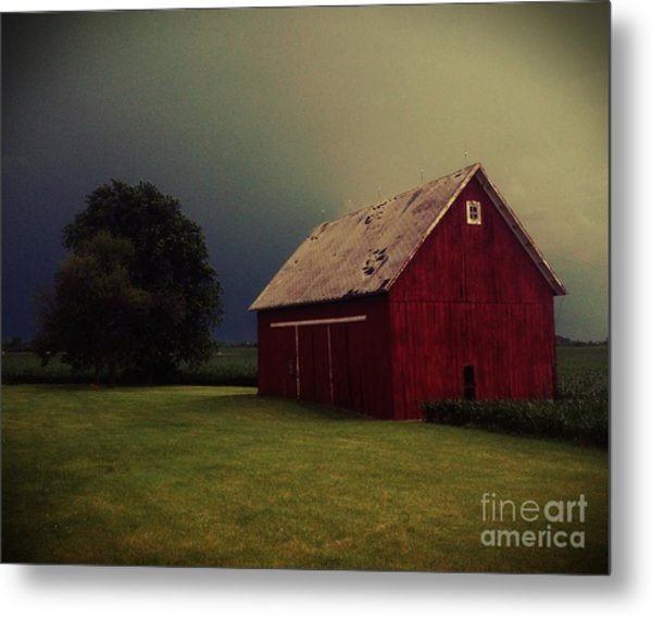 Barn And Tree Metal Print