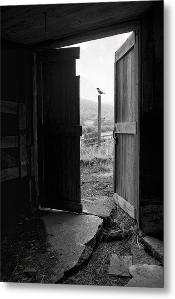 Metal Print featuring the photograph Barn Door - View From Within - Old Barn Picture by Gary Heller