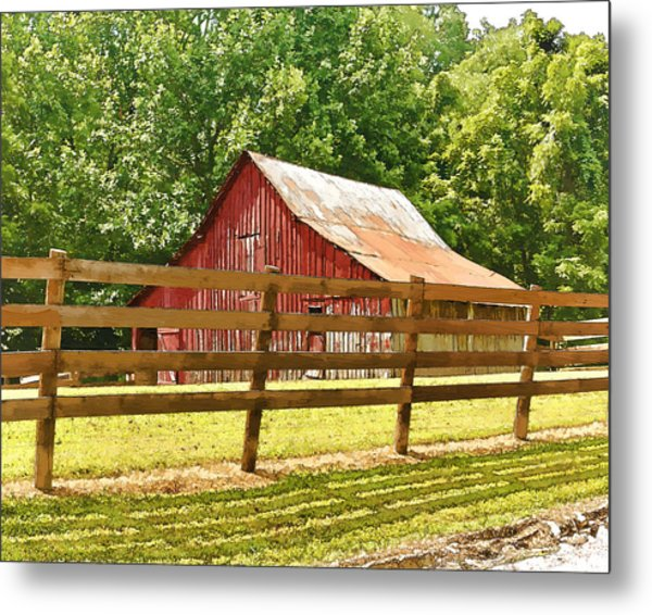 Barn In A Fence Metal Print