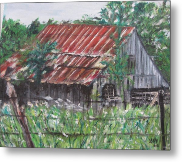 Barn In Montana Metal Print