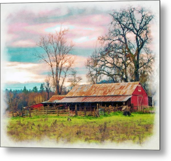 Barn In Penn Valley Painted Metal Print