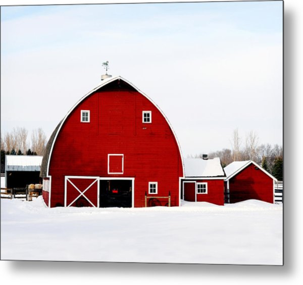 Barn In Snow Metal Print