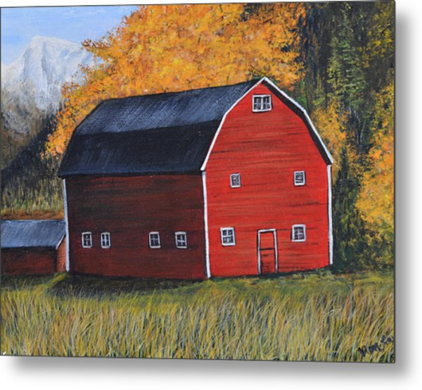 Barn In The Fall Metal Print