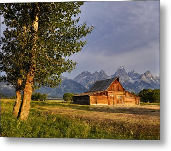 Barn In The Tetons Metal Print