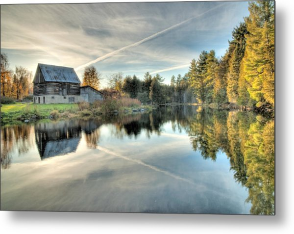 Barn On Mill Pond Along Waba Creek Metal Print