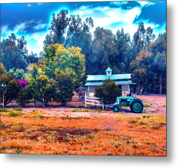 Barn Tractor And A Horse Metal Print