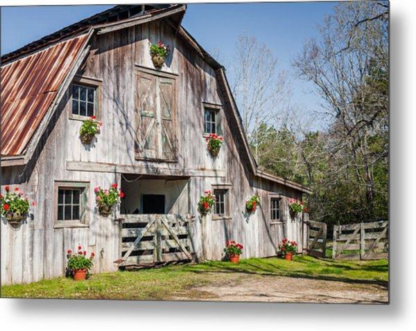 Barn With Flowers Metal Print by Terry Ellis