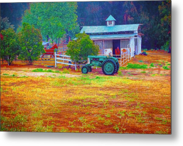 Barn With Horses And Oliver Tractor Metal Print