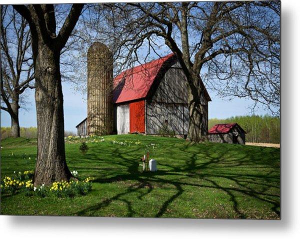 Barn With Silo In Springtime Metal Print