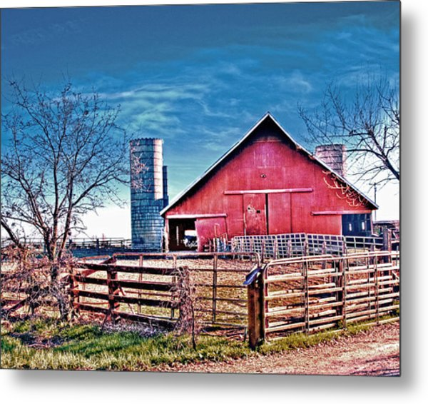 Barn With Silos Metal Print