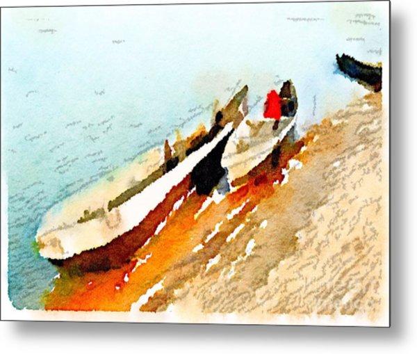 Barques Sur Le Chari Metal Print