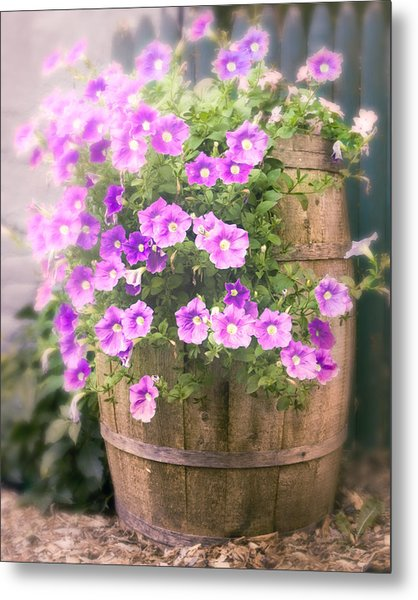 Metal Print featuring the photograph Barrel Of Flowers - Floral Arrangements by Gary Heller