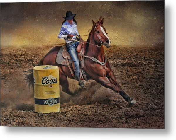 Barrel-rider Cowgirl Metal Print