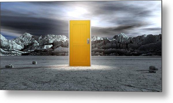 Barren Lanscape With Closed Yellow Door Metal Print