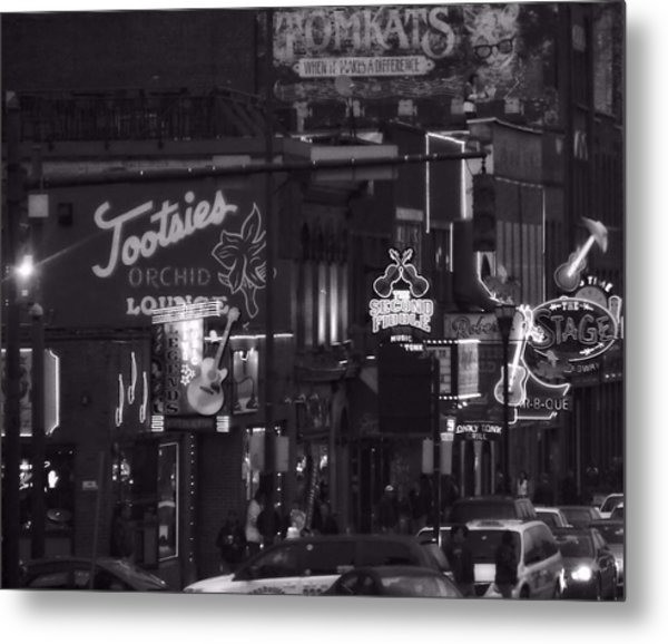Bars On Broadway Nashville Metal Print